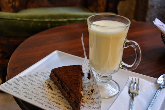 A piece of chocolate cake with milk in Lisbon