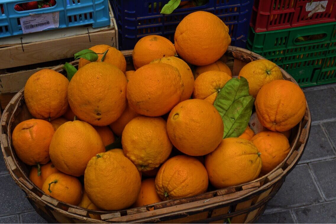 A basketful of french oranges in Mallorca, Spain