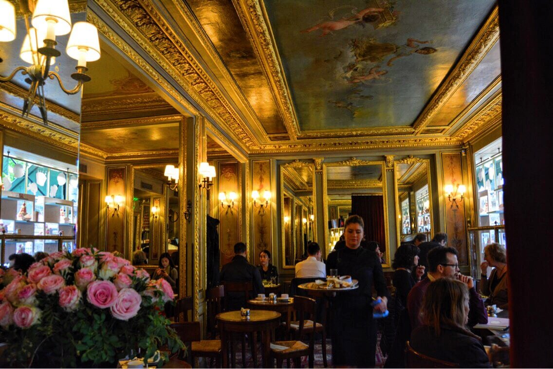 Inside the Laduree, a luxury restaurant in Paris