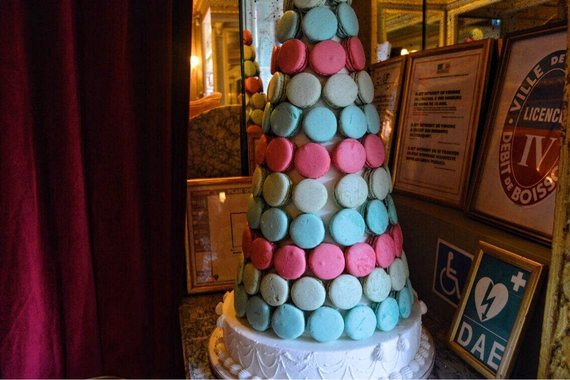 A blue and pink Macaroon tower in Paris