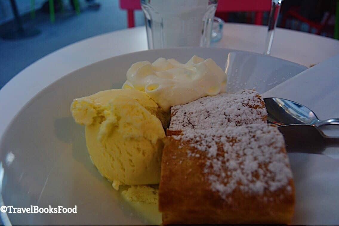 Apple Strudel in Vienna served with fresh cream and delicious homemade vanilla icecream