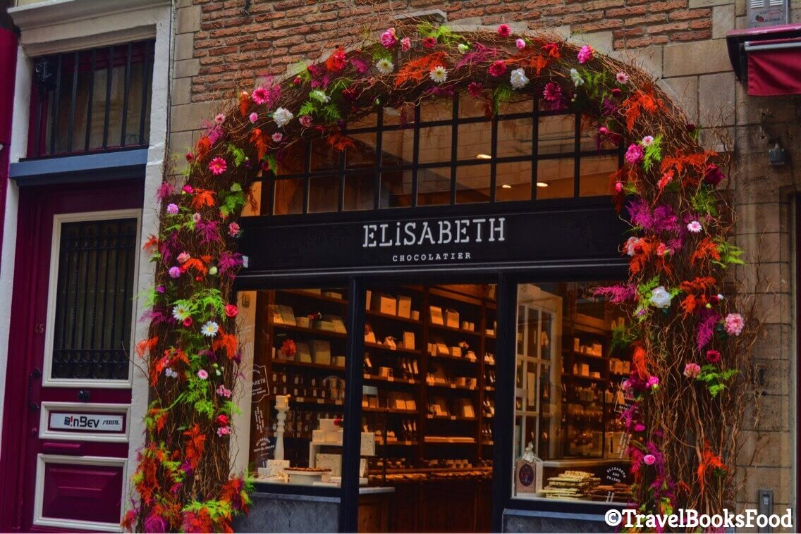 Outside a chocolate shop in Brussels, Belgium